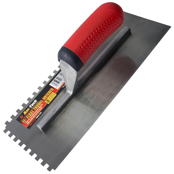 "Amtech 275mm (11"") Notched Float Trowel with Soft Grip Handle"