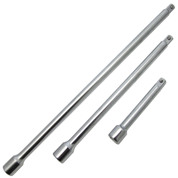 Amtech 3 Piece Socket Extension Bar Sets 75mm 150mm 225mm