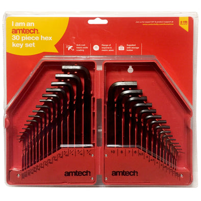 Amtech 30 Piece Hexagon Key Set Metric and Imperial Keys 0.7-10mm