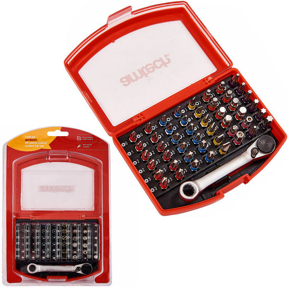Amtech 49 Piece Colour Coded Screwdriver Bit Set in Case