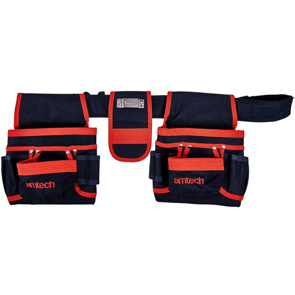 Amtech 20 Pocket Double Tool Belt Nail Pouch Hammer Loop