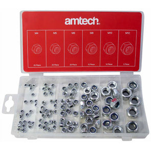 Amtech 100 Piece Locking Nut Assortment M4-M12 Nylon Insert