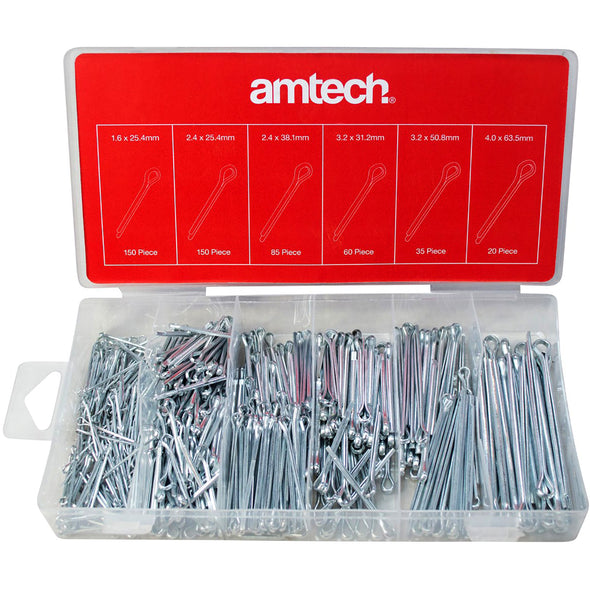 Amtech 500 Piece Cotter Pin Assortment in Storage Case