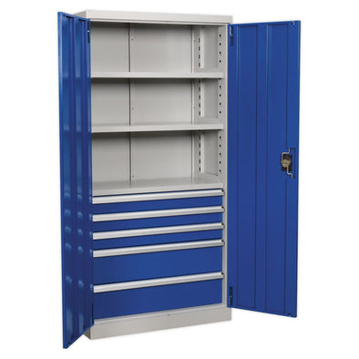 Sealey Premier Industrial Industrial Cabinet 5 Drawer 3 Shelf 1800mm
