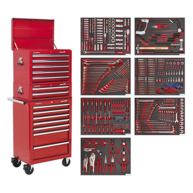 Sealey Superline Pro Tool Chest Combination 14 Drawer with Ball Bearing Slides - Red & 446pc Tool Kit