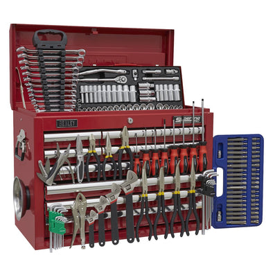 Sealey Superline Pro Topchest 10 Drawer with Ball Bearing Slides - Red & 140pc Tool Kit