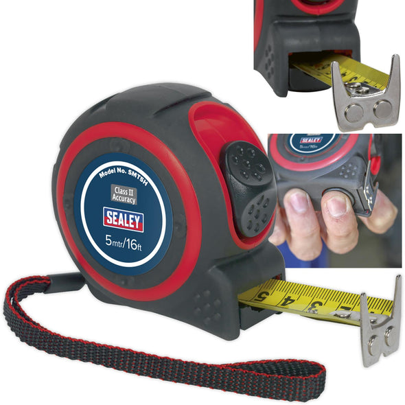 Sealey 5m or 8m Heavy Duty Tape Measure Rubber Body