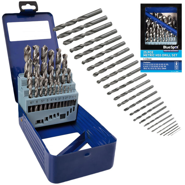 BlueSpot HSS Drill Bit Set 25 Piece Metric in Metal Case 1-13mm