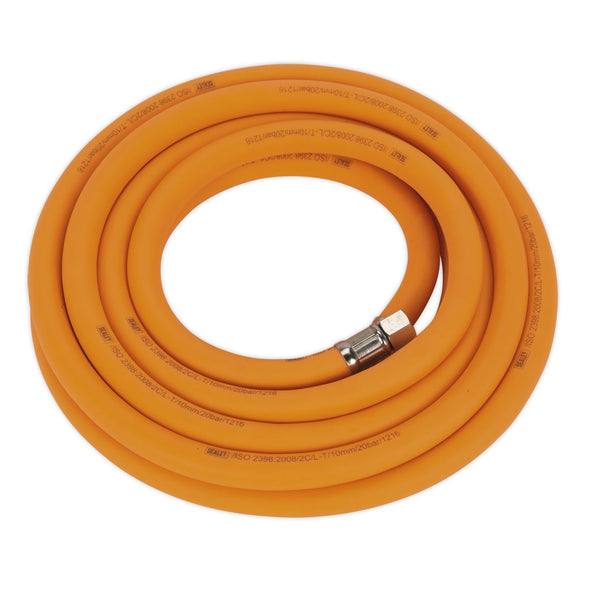 "Sealey 5m x Ø10mm Hybrid High Visibility Air Hose with 1/4"" BSP Unions"