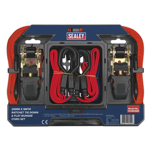 Sealey Tie Down & Bungee Cord Set 6pc
