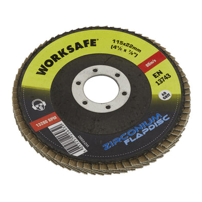 Worksafe by Sealey Zirconium Flap Disc Ø115mm 60Grit - Pack of 10