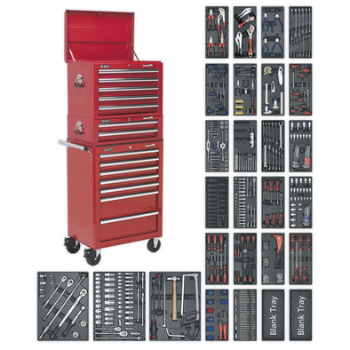 Sealey Superline Pro Tool Chest Combination 14 Drawer with Ball Bearing Slides - Red & 1179pc Tool Kit