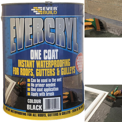 EverBuild Evercryl One Coat Instant Waterproofing for Roofs, Gutters and Gulleys 5L Black