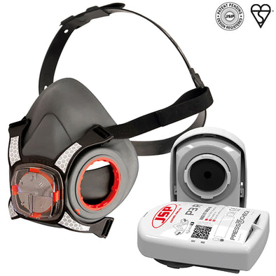 JSP Force 8 Half Mask Medium Face Mask Respirator with P3 Press to Check Filters