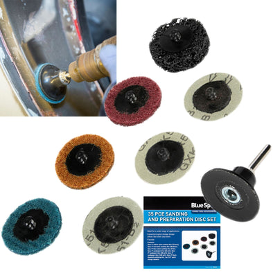 BlueSpot Sanding and Preparation Disc Set 50mm 35 Piece
