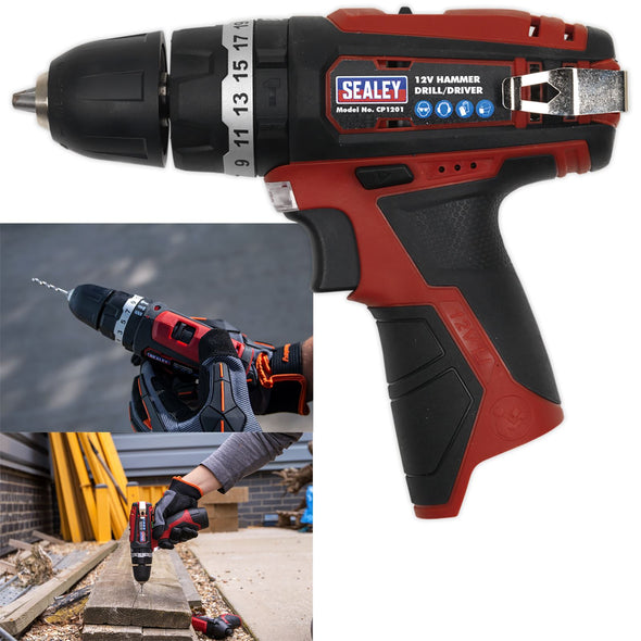 Sealey 12V 10mm Hammer Drill/Driver Body Only Compact Lightweight
