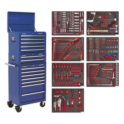 Sealey Superline Pro Tool Chest Combination 14 Drawer with Ball Bearing Slides - Blue & 446pc Tool Kit