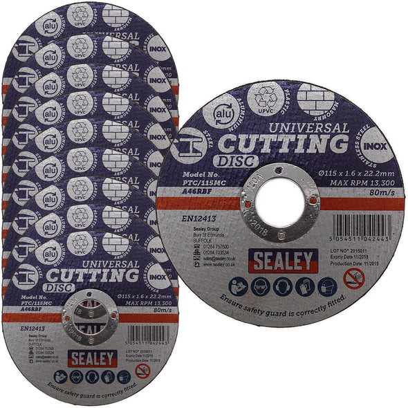 Sealey Multipurpose Cutting Disc 115mm x 1.6mm Ø22.2mm Bore Steel Aluminium