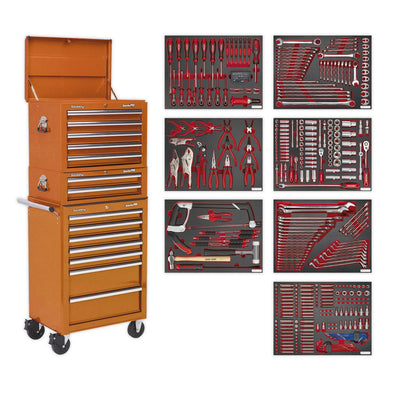 Sealey Superline Pro Tool Chest Combination 14 Drawer with Ball Bearing Slides - Orange & 446pc Tool Kit