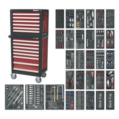 Sealey Premier Topchest & Rollcab Combination 14 Drawer with Ball Bearing Slides & 1233pc Tool Kit