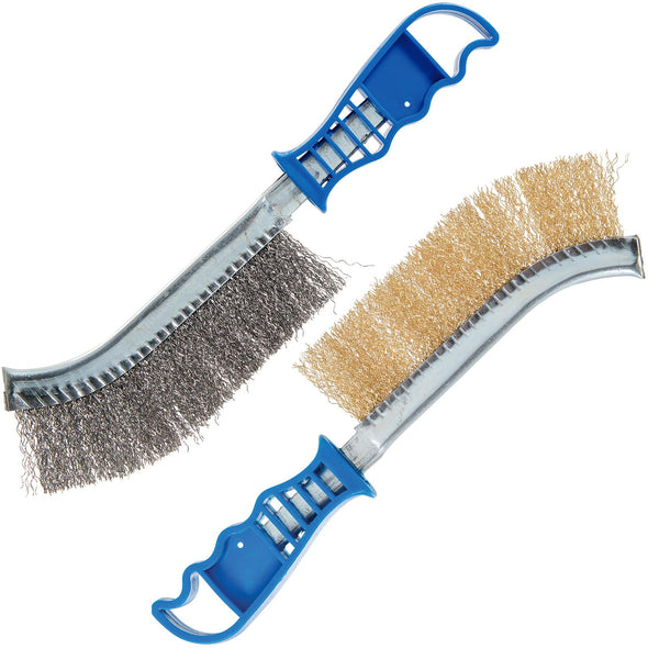 Silverline Steel Brass Wire Bristle Brush 2 Pack 240mm Paint Rust Metal Cleaning