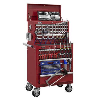 Sealey Superline Pro Topchest & Rollcab Combination 10 Drawer with Ball Bearing Slides - Red & 147pc Tool Kit