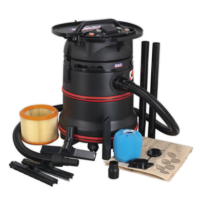 Sealey Vacuum Cleaner Industrial Wet/Dry 35L 1200W/230V Plastic Drum M Class Filtration Self-Clean Filter