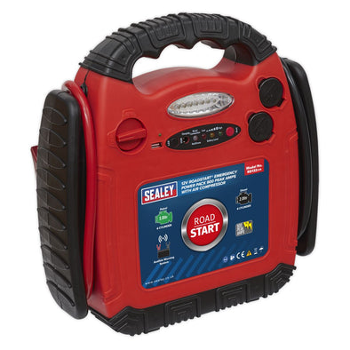 Sealey RoadStart® Emergency Jump Starter with Air Compressor 12V 900 Peak Amps