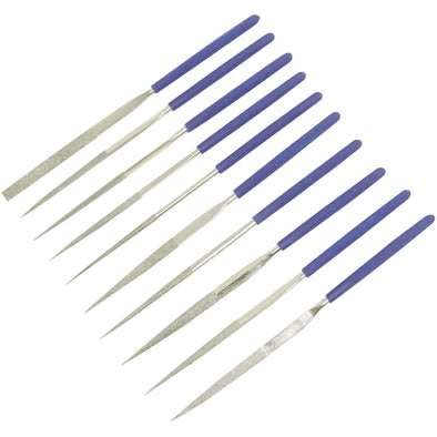 Silverline 10 Piece Diamond Needle Files Set Taper Flat Round Square