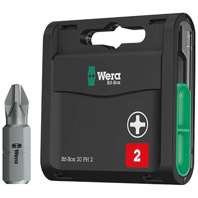 Wera Phillips Screwdriver Bits 20 Pack PH2 x 25mm Bit Box Extra Hard