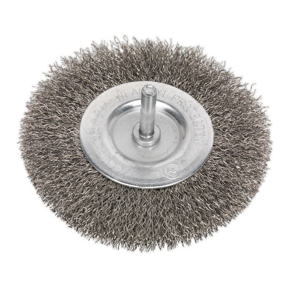 Sealey Flat Wire Brush Stainless Steel 100mm with 6mm Shaft