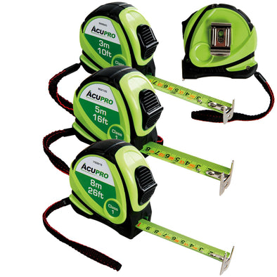 Acupro 3m 5m 8m Tape Measure Class 1 Accuracy Highest Available
