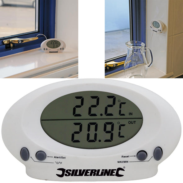 Silverline Indoor/Outdoor Digital Thermometer Temperature Kitchen Probe Sensor