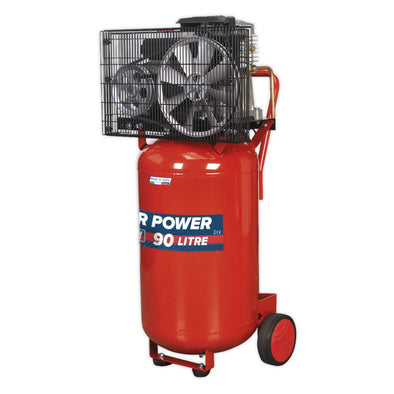 Sealey Compressor 90L Vertical Belt Drive 3hp