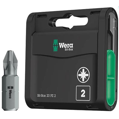 Wera Pozi Screwdriver Bits 20 Pack PZ2 x 25mm Bit Box Extra Hard