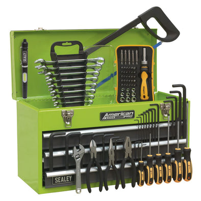 Sealey American Pro Portable Tool Chest 3 Drawer with Ball Bearing Slides - Hi-Vis & 93pc Tool Kit