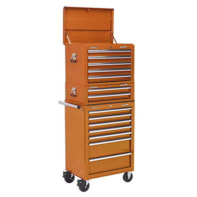 Sealey Topchest, Mid-Box & Rollcab Combination 14 Drawer with Ball Bearing Slides - Orange
