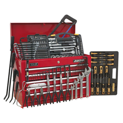 Sealey American Pro Topchest 5 Drawer with Ball Bearing Slides - Red & 230pc Tool Kit