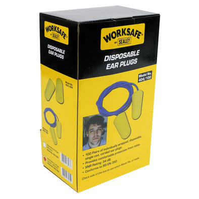 Worksafe by Sealey Ear Plugs Disposable Corded Pack of 100 Pairs