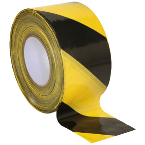 Sealey 80mm x 100m Non Adhesive Hazard Barrier Tape Black & Yellow