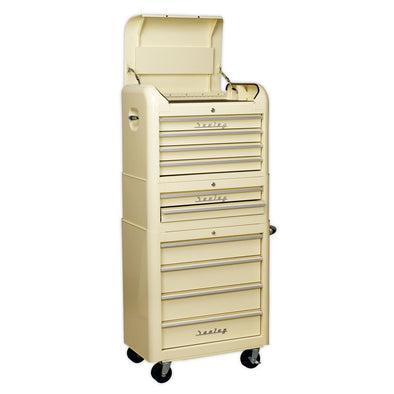 Sealey Premier Retro Style Topchest, Mid-Box & Rollcab Combination 10 Drawer Cream