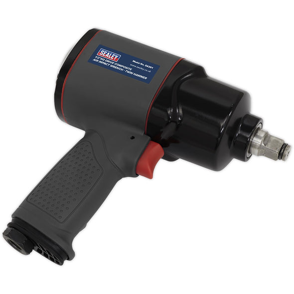 "Sealey Air Impact Wrench 1/2"" Drive Composite Twin Hammer Wheel Buzz Gun 610Nm"