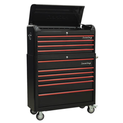 Sealey Premier Retro Style Extra-Wide Topchest & Rollcab Combination 10 Drawer-Black with Red Anodised Drawer Pull