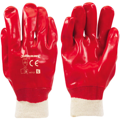 Silverline Red PVC Gloves Protective Work Grease Oil Repellent