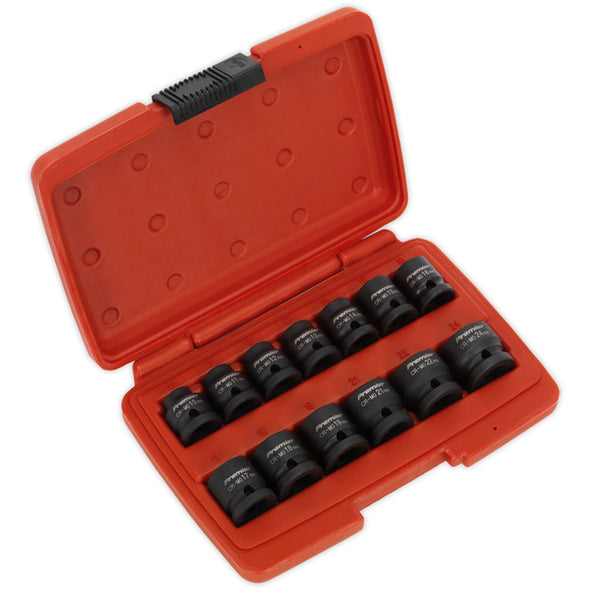 "Sealey Premier 13 Piece 1/2"" Drive Low Profile Impact Socket Set 10-24mm WallDrive"