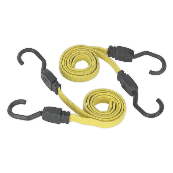 Sealey 2 Piece Flat Bungee Cord Set Yellow 910mm-2200mm Heavy-Duty Steel Hooks