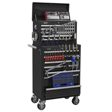 Sealey Superline Pro Topchest & Rollcab Combination 15 Drawer with Ball Bearing Slides - Black & 147pc Tool Kit