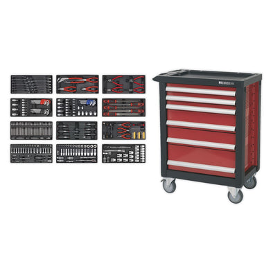 Sealey Premier Rollcab 6 Drawer with Ball-Bearing Slides with 298pc Tool Kit