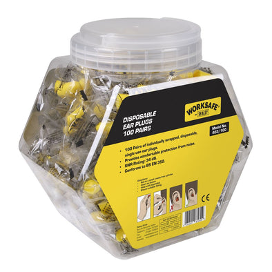 Worksafe by Sealey Ear Plugs Disposable - 100 Pairs