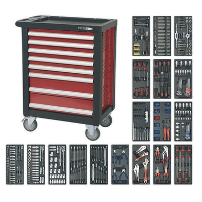 Sealey Premier Rollcab 8 Drawer with Ball Bearing Slides & 707pc Tool Kit